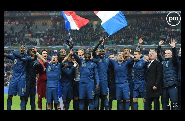 L'équipe de France de football après leur victoire contre l'Ukraine.