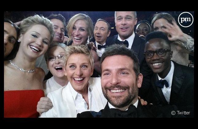 Ellen DeGeneres et quelques amis lors de la cérémonie des Oscars hier soir
