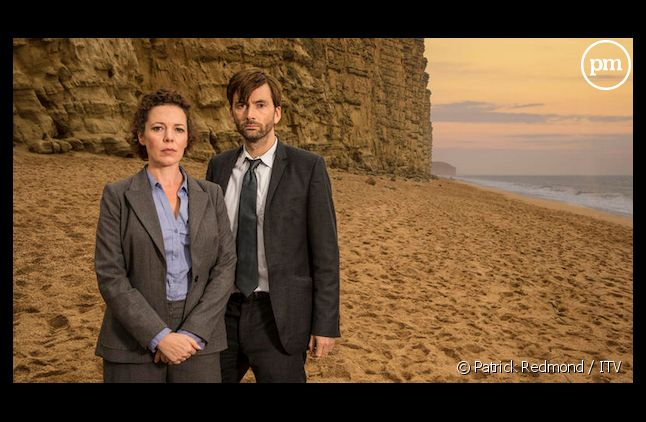 "<span>Olivia Colman et David Tennant de la série ""Broadchurch"".</span>"
