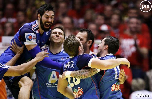 L'équipe de France de handball après sa victoire de l'Euro en 2014