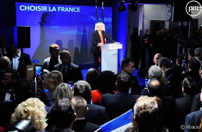 Marine Le Pen à sa soirée électorale au bois de Vincennes.