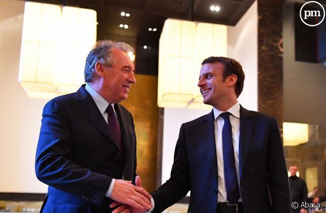 Emmanuel Macron et François Bayrou, après leur accord.