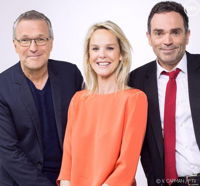 Laurent Ruquier entouré de Vanessa Burggraf et Yann Moix