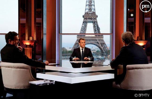 Emmanuel Macron face à Edwy Plenel et Jean-Jacques Bourdin