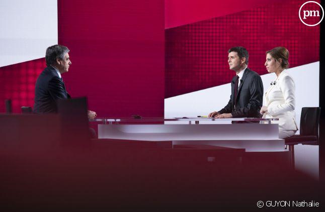 """François Fillon, Léa Salamé et Thomas Sotto dans """"Vous avez la parole"""""""