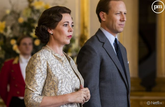 "Olivia Colman et Tobias Menzies dans ""The Crown"""