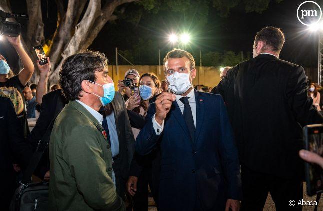 Georges Malbrunot aux côtés d'Emmanuel Macron au Liban
