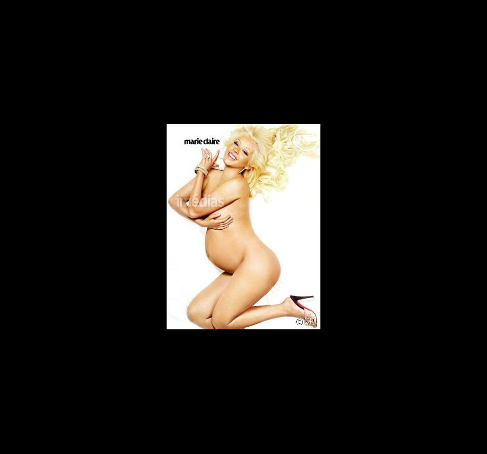 Christina Aguilera, enceinte, dans Marie Claire